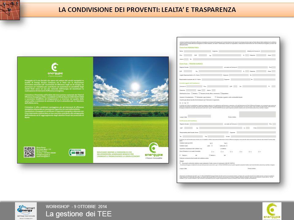 La gestione dei TEE WORHSHOP - 9 OTTOBRE 2014 LA CONDIVISIONE DEI PROVENTI: LEALTA' E TRASPARENZA
