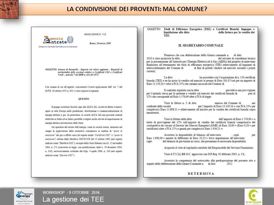 La gestione dei TEE WORHSHOP - 9 OTTOBRE 2014 LA CONDIVISIONE DEI PROVENTI: MAL COMUNE?