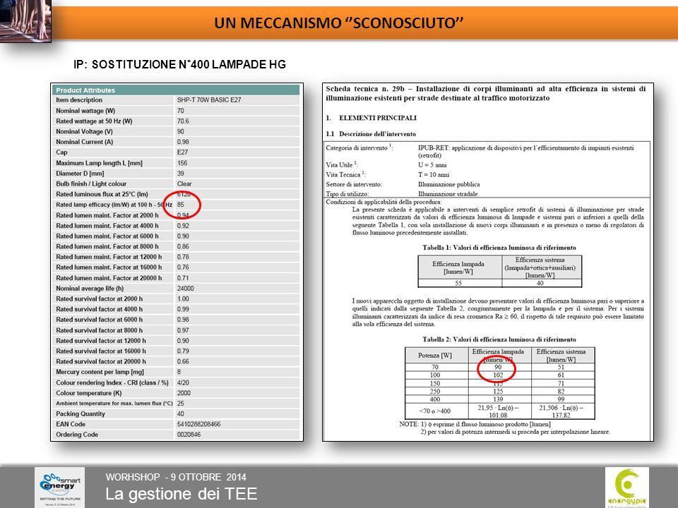 La gestione dei TEE WORHSHOP - 9 OTTOBRE 2014 UN MECCANISMO ''SCONOSCIUTO'' IP: SOSTITUZIONE N°400 LAMPADE HG