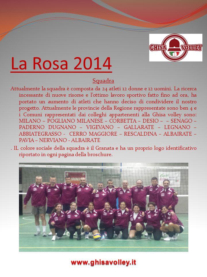 La Rosa 2014 Squadra Attualmente la squadra è composta da 24 atleti 12 donne e 12 uomini. La ricerca incessante di nuove risorse e l'ottimo lavoro spo