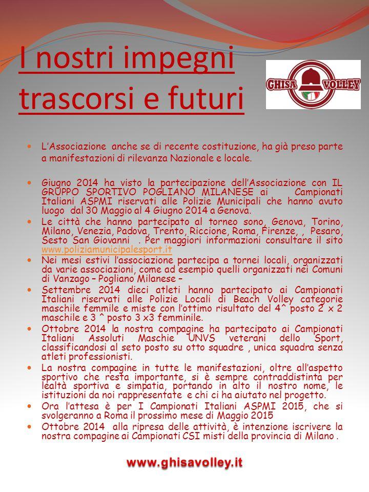 I nostri impegni trascorsi e futuri L'Associazione anche se di recente costituzione, ha già preso parte a manifestazioni di rilevanza Nazionale e loca