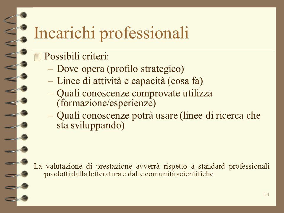 14 Incarichi professionali 4 Possibili criteri: –Dove opera (profilo strategico) –Linee di attività e capacità (cosa fa) –Quali conoscenze comprovate