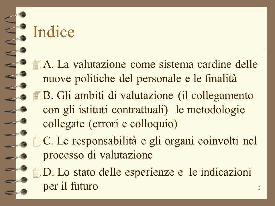 2 Indice 4 A. La valutazione come sistema cardine delle nuove politiche del personale e le finalità 4 B. Gli ambiti di valutazione (il collegamento co