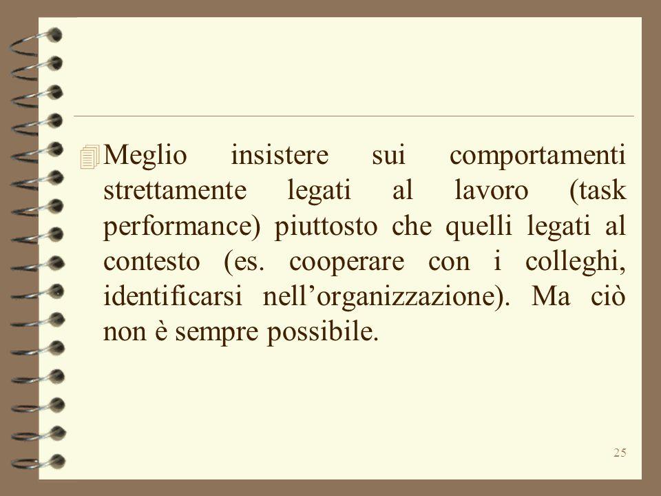 25 4 Meglio insistere sui comportamenti strettamente legati al lavoro (task performance) piuttosto che quelli legati al contesto (es. cooperare con i