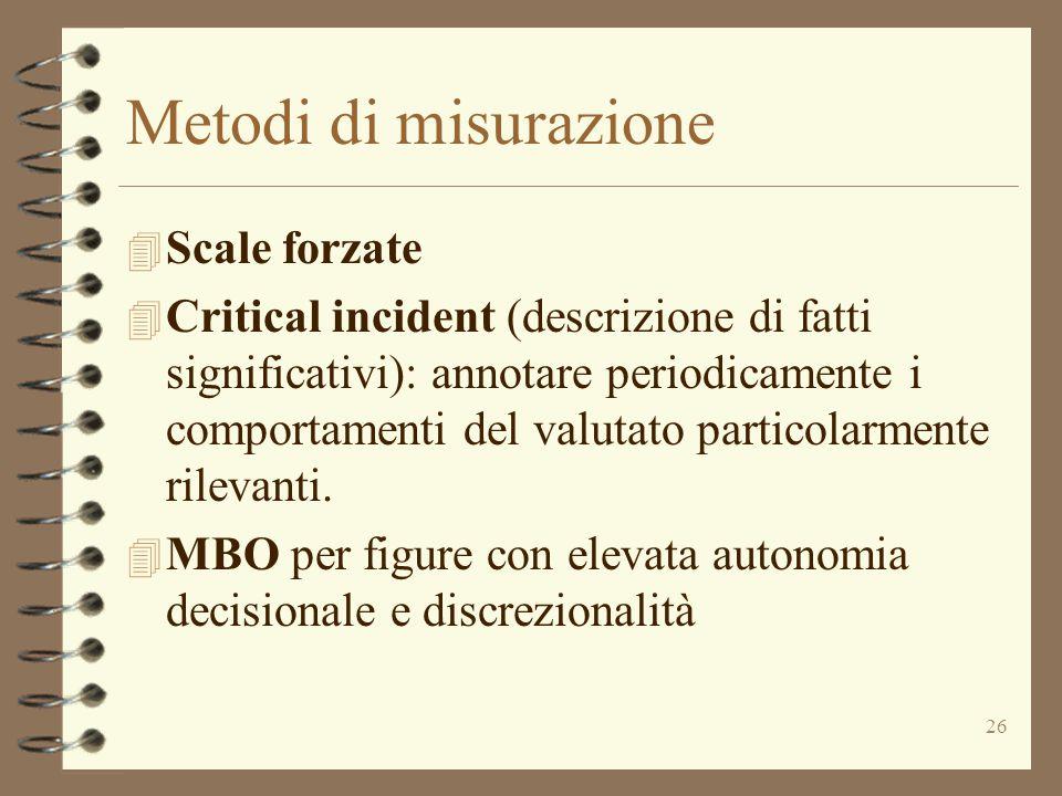 26 Metodi di misurazione 4 Scale forzate 4 Critical incident (descrizione di fatti significativi): annotare periodicamente i comportamenti del valutat