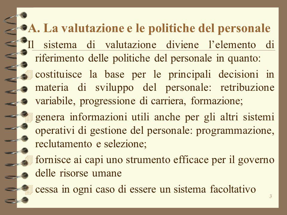 3 A. La valutazione e le politiche del personale Il sistema di valutazione diviene l'elemento di riferimento delle politiche del personale in quanto:
