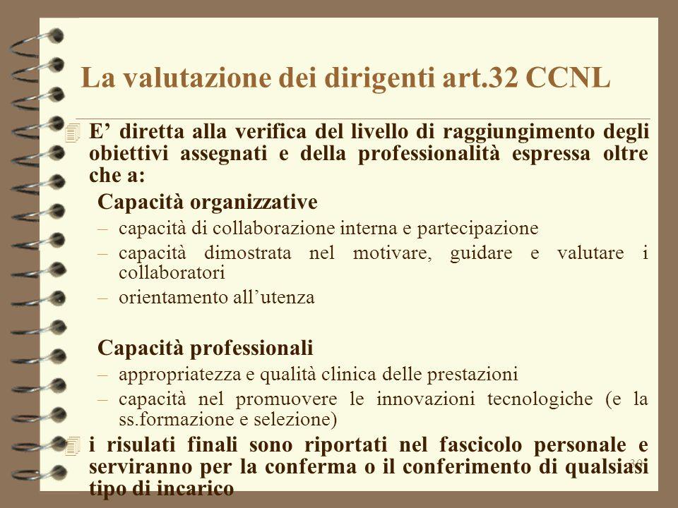 30 La valutazione dei dirigenti art.32 CCNL 4 E' diretta alla verifica del livello di raggiungimento degli obiettivi assegnati e della professionalità