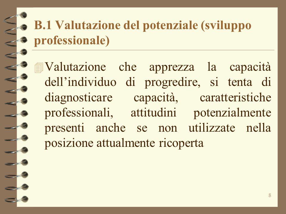 8 B.1 Valutazione del potenziale (sviluppo professionale) 4 Valutazione che apprezza la capacità dell'individuo di progredire, si tenta di diagnostica
