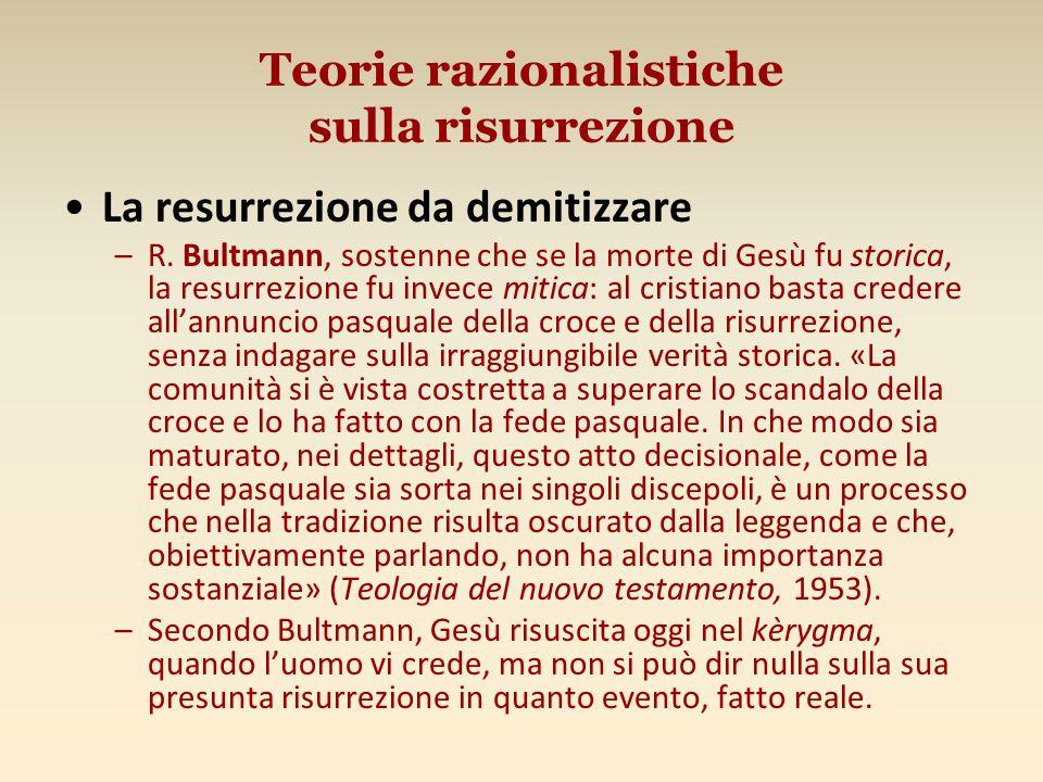 Teorie razionalistiche sulla risurrezione La resurrezione da demitizzare –R.