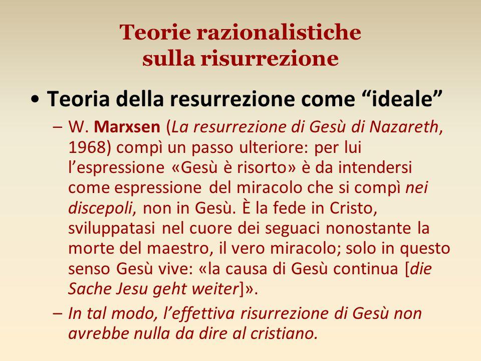 Teorie razionalistiche sulla risurrezione Teoria della resurrezione come ideale –W.