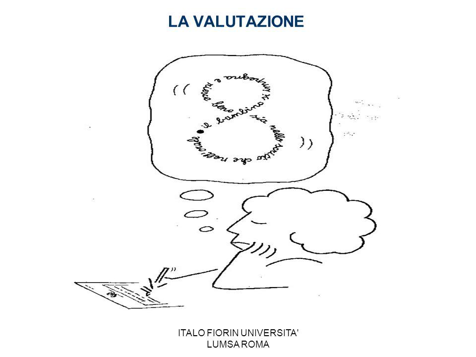 ITALO FIORIN UNIVERSITA LUMSA ROMA La Valutazione: OGGETTO Dalla valutazione dell'alunno… alla valutazione dell'insegnamento… alla valutazione dell'insegnante… alla valutazione della scuola… alla valutazione del sistema nazionale… alla comparazione tra sistemi nazionali