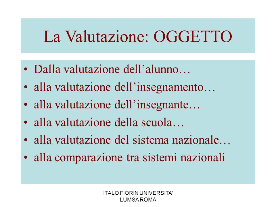 ITALO FIORIN UNIVERSITA' LUMSA ROMA La Valutazione: OGGETTO Dalla valutazione dell'alunno… alla valutazione dell'insegnamento… alla valutazione dell'i