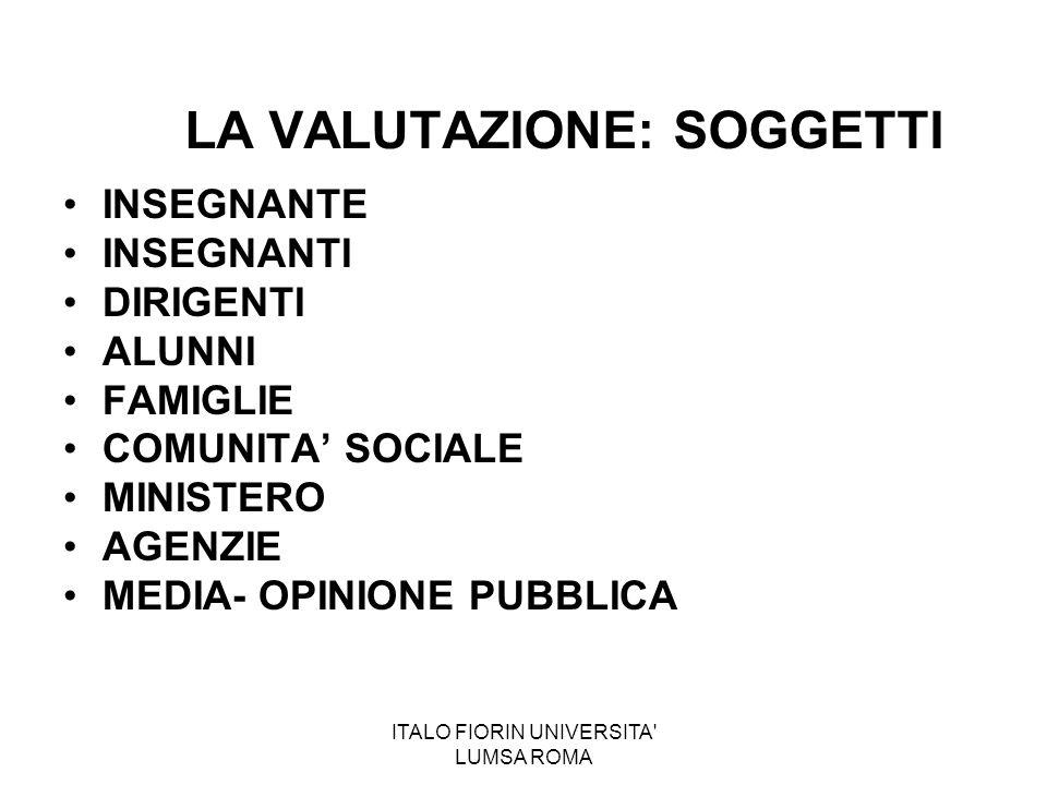 ITALO FIORIN UNIVERSITA' LUMSA ROMA LA VALUTAZIONE: SOGGETTI INSEGNANTE INSEGNANTI DIRIGENTI ALUNNI FAMIGLIE COMUNITA' SOCIALE MINISTERO AGENZIE MEDIA
