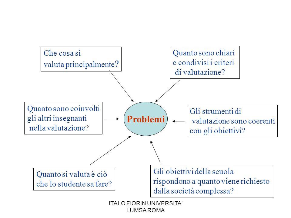 Problemi Che cosa si valuta principalmente ? Quanto sono chiari e condivisi i criteri di valutazione? Gli strumenti di valutazione sono coerenti con g