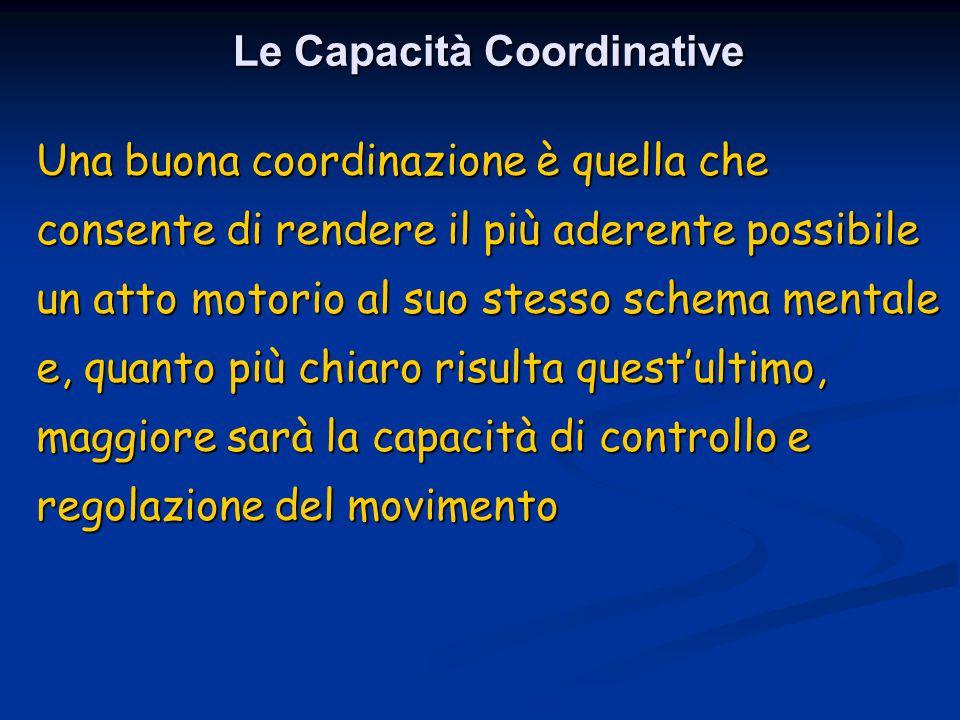 Una buona coordinazione è quella che consente di rendere il più aderente possibile un atto motorio al suo stesso schema mentale e, quanto più chiaro r