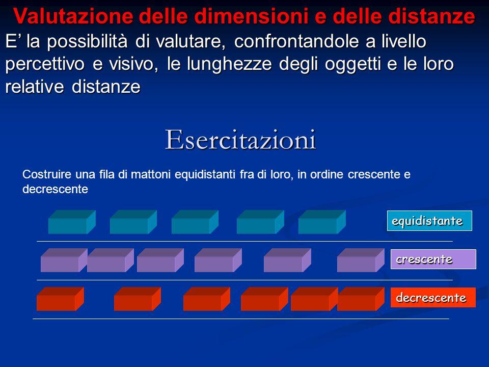 Valutazione delle dimensioni e delle distanze E' la possibilità di valutare, confrontandole a livello percettivo e visivo, le lunghezze degli oggetti