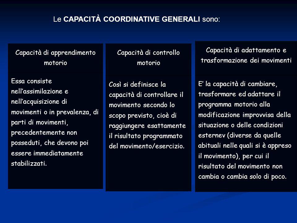 Le CAPACITÀ COORDINATIVE GENERALI sono: Capacità di adattamento e trasformazione dei movimenti E' la capacità di cambiare, trasformare ed adattare il