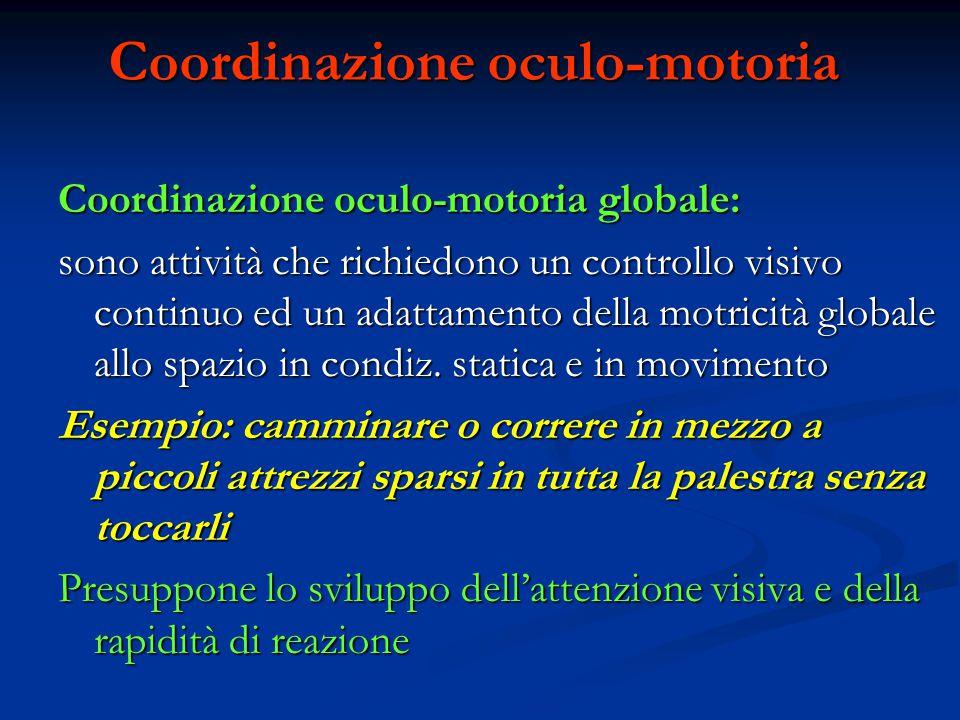 Coordinazione oculo-motoria Coordinazione oculo-motoria globale: sono attività che richiedono un controllo visivo continuo ed un adattamento della mot