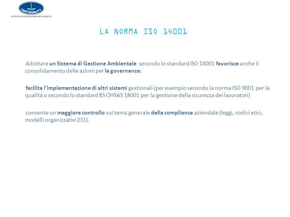 Adottare un Sistema di Gestione Ambientale secondo lo standard ISO 14001 favorisce anche il consolidamento delle azioni per la governance: facilita l'