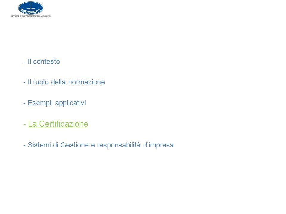 - Il contesto - Il ruolo della normazione - Esempli applicativi - La Certificazione - Sistemi di Gestione e responsabilità d'impresa