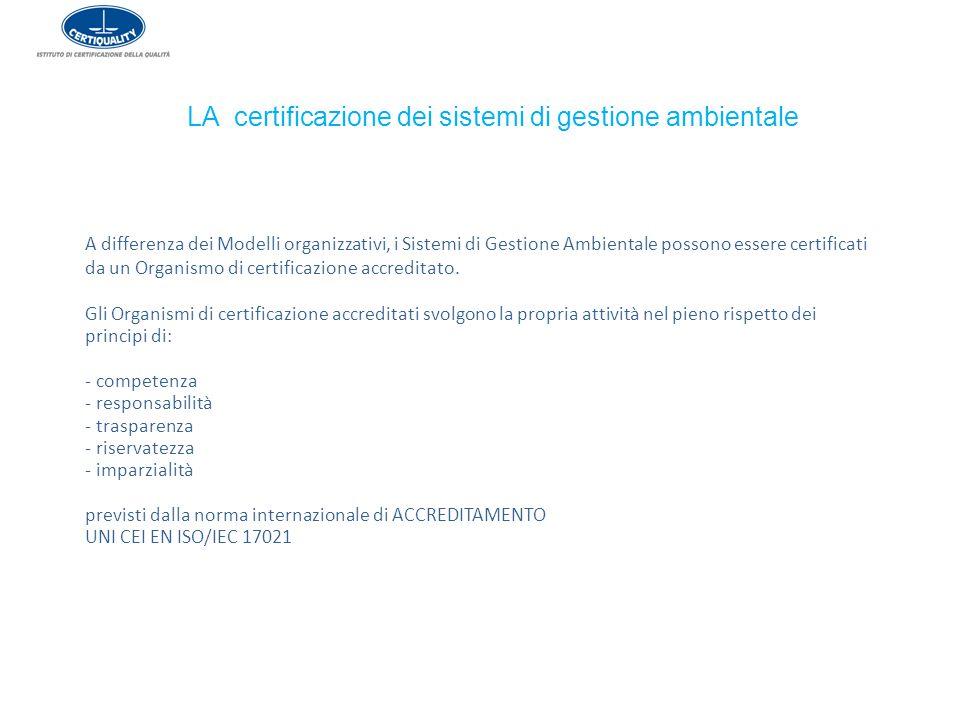 LA certificazione dei sistemi di gestione ambientale A differenza dei Modelli organizzativi, i Sistemi di Gestione Ambientale possono essere certifica