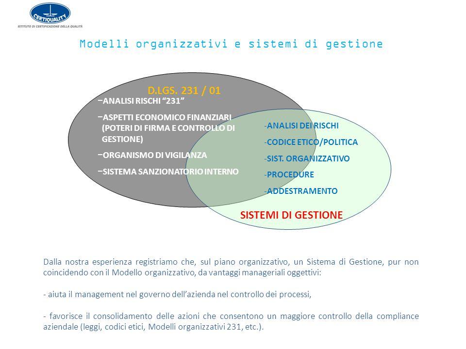 Modelli organizzativi e sistemi di gestione Dalla nostra esperienza registriamo che, sul piano organizzativo, un Sistema di Gestione, pur non coincide