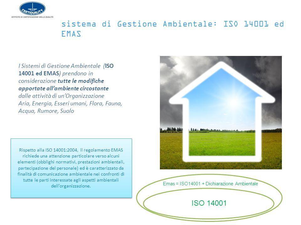 Rispetto alla ISO 14001:2004, il regolamento EMAS richiede una attenzione particolare verso alcuni elementi (obblighi normativi, prestazioni ambiental