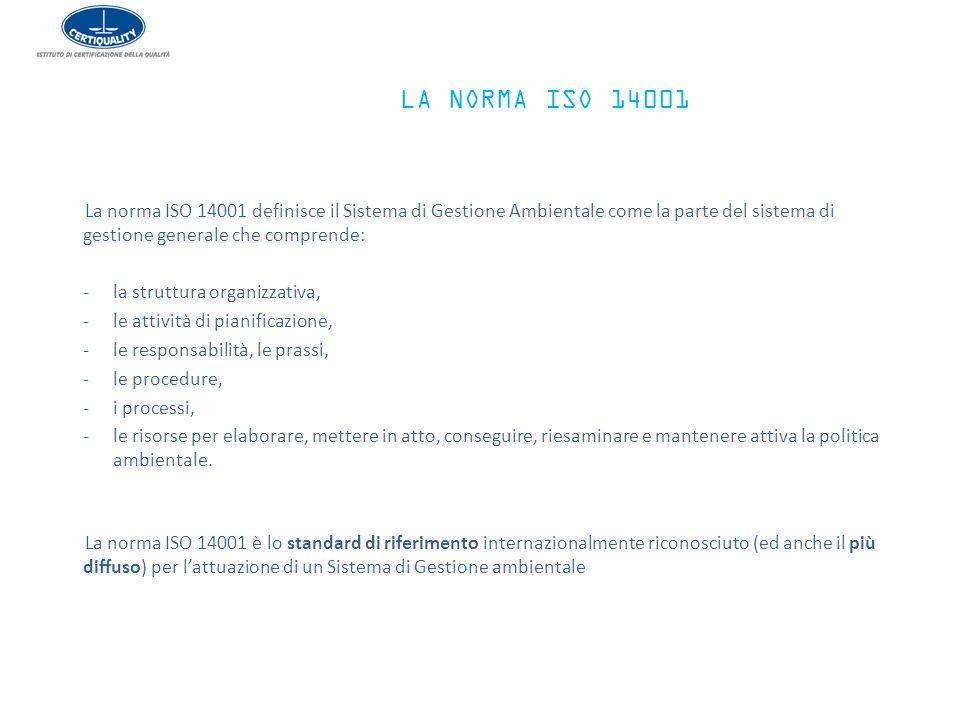 LA NORMA ISO 14001 La norma ISO 14001 definisce il Sistema di Gestione Ambientale come la parte del sistema di gestione generale che comprende: -la st
