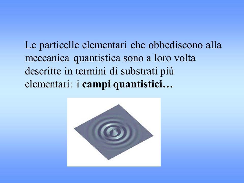 Le particelle elementari che obbediscono alla meccanica quantistica sono a loro volta descritte in termini di substrati più elementari: i campi quanti