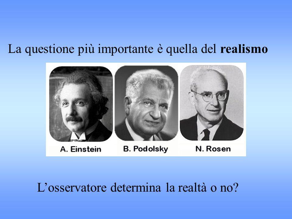 La questione più importante è quella del realismo L'osservatore determina la realtà o no?