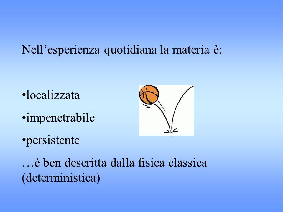 Nell'esperienza quotidiana la materia è: localizzata impenetrabile persistente …è ben descritta dalla fisica classica (deterministica)
