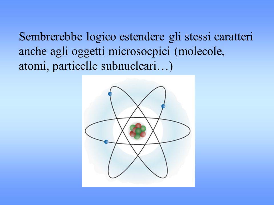 Sembrerebbe logico estendere gli stessi caratteri anche agli oggetti microsocpici (molecole, atomi, particelle subnucleari…)