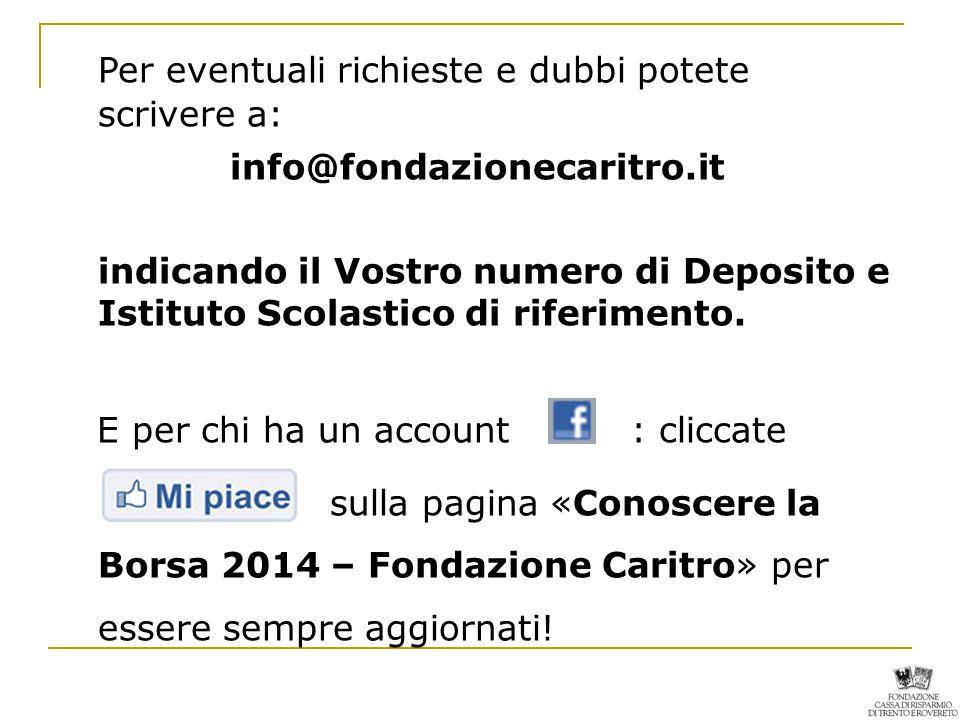 Per eventuali richieste e dubbi potete scrivere a: info@fondazionecaritro.it indicando il Vostro numero di Deposito e Istituto Scolastico di riferimento.