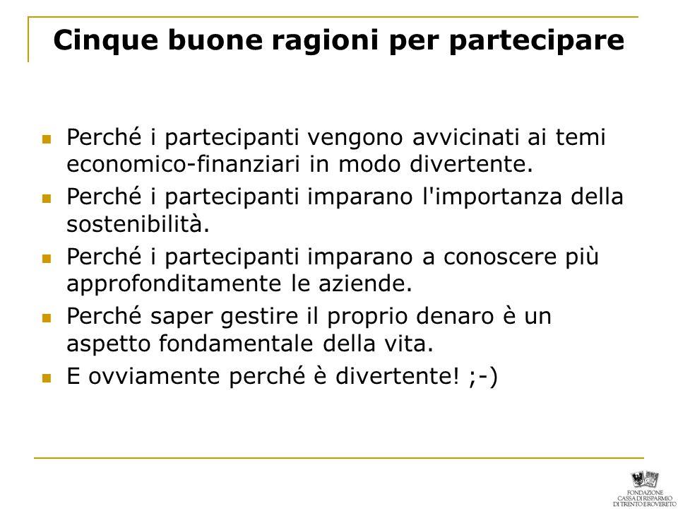 Cinque buone ragioni per partecipare Perché i partecipanti vengono avvicinati ai temi economico-finanziari in modo divertente.