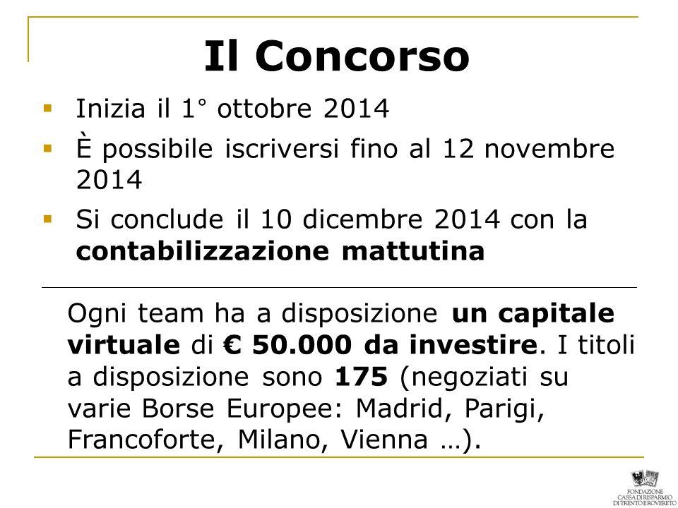 Il Concorso  Inizia il 1° ottobre 2014  È possibile iscriversi fino al 12 novembre 2014  Si conclude il 10 dicembre 2014 con la contabilizzazione mattutina _______________________________________________________________________ Ogni team ha a disposizione un capitale virtuale di € 50.000 da investire.
