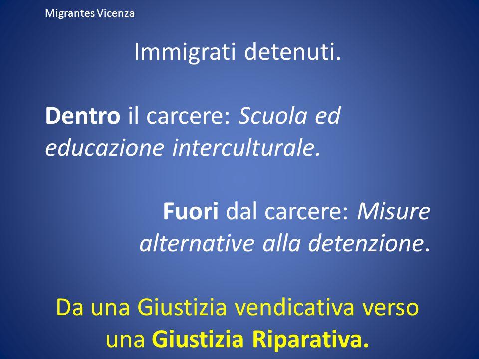 Migrantes Vicenza Immigrati detenuti. Dentro il carcere: Scuola ed educazione interculturale. Fuori dal carcere: Misure alternative alla detenzione. D
