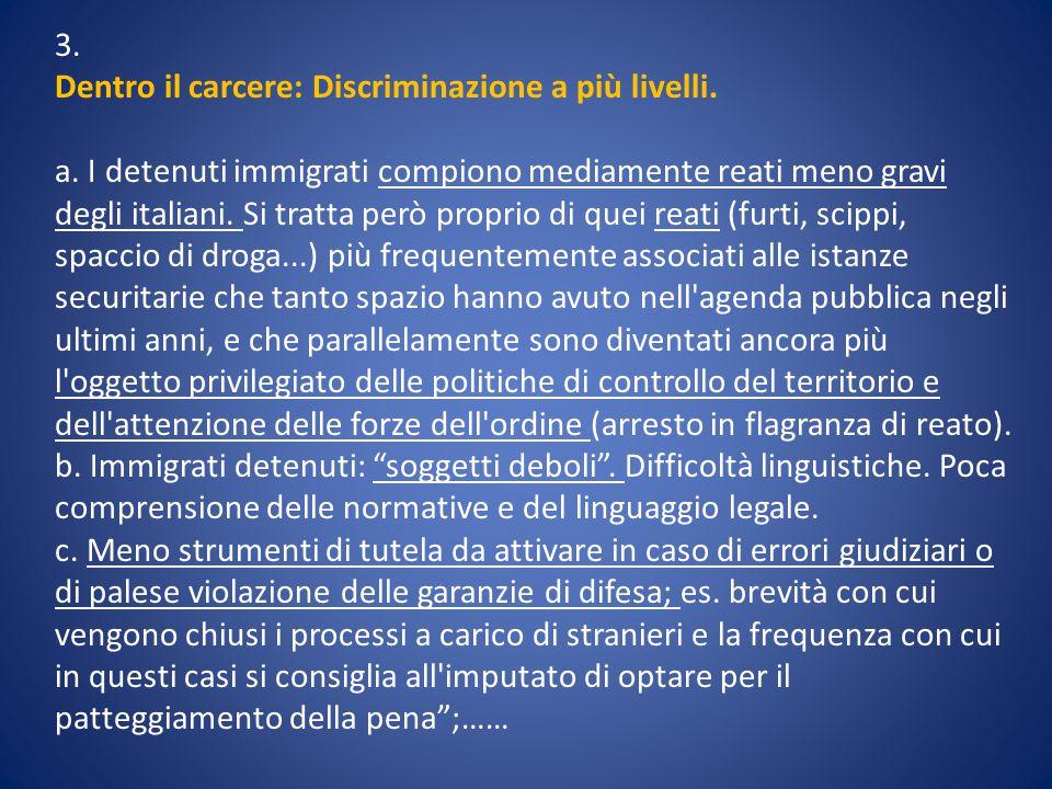3. Dentro il carcere: Discriminazione a più livelli. a. I detenuti immigrati compiono mediamente reati meno gravi degli italiani. Si tratta però propr