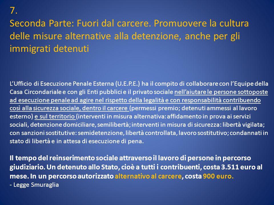 7. Seconda Parte: Fuori dal carcere. Promuovere la cultura delle misure alternative alla detenzione, anche per gli immigrati detenuti L'Ufficio di Ese