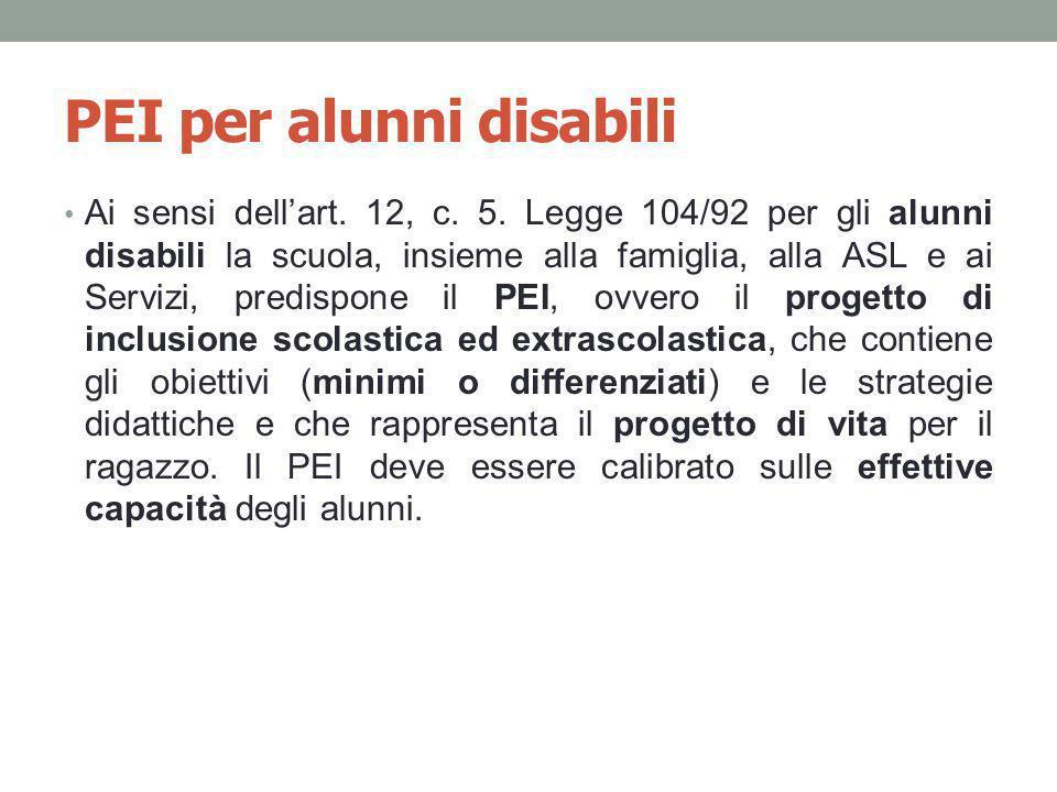 PEI per alunni disabili Ai sensi dell'art. 12, c. 5. Legge 104/92 per gli alunni disabili la scuola, insieme alla famiglia, alla ASL e ai Servizi, pre