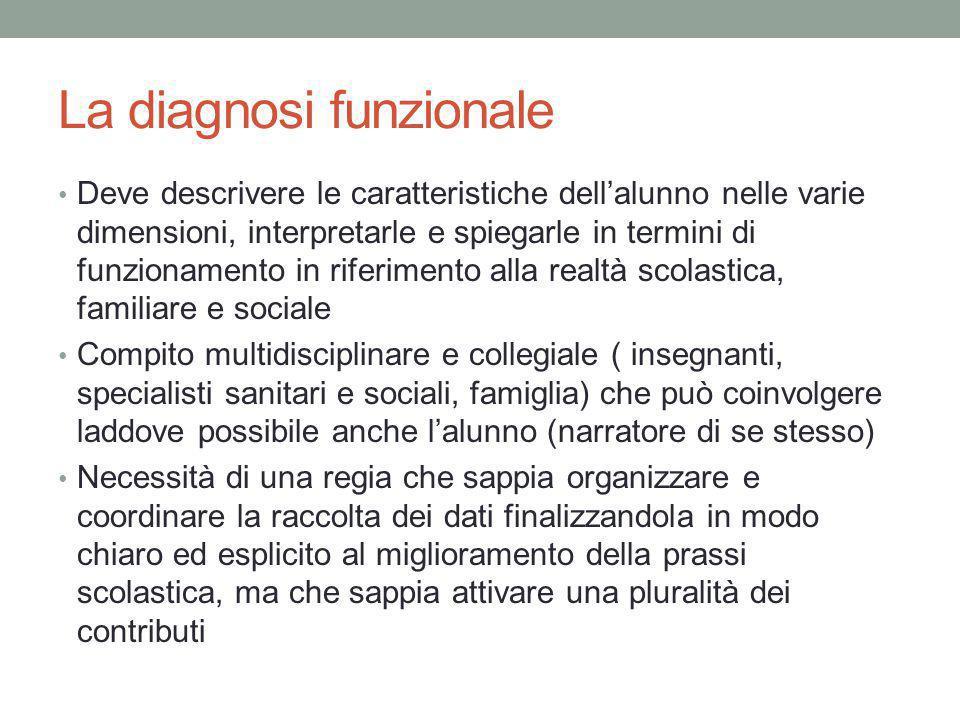 La diagnosi funzionale Deve descrivere le caratteristiche dell'alunno nelle varie dimensioni, interpretarle e spiegarle in termini di funzionamento in