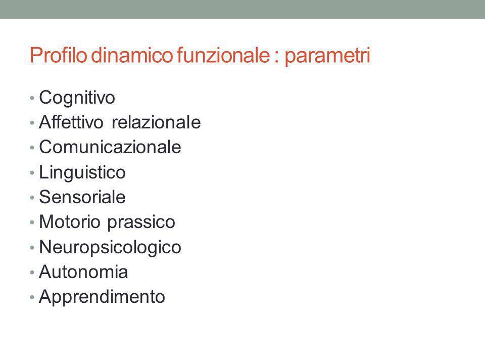 Profilo dinamico funzionale : parametri Cognitivo Affettivo relazionale Comunicazionale Linguistico Sensoriale Motorio prassico Neuropsicologico Auton