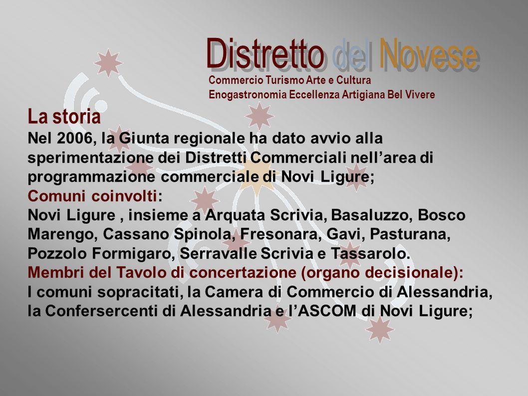 """""""Distretti commerciali sperimentali della Regione Piemonte: la realtà novese"""" La storia Nel 2006, la Giunta regionale ha dato avvio alla sperimentazio"""