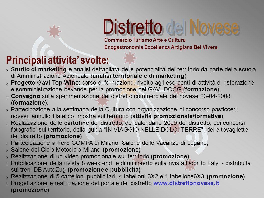 """""""Distretti commerciali sperimentali della Regione Piemonte: la realtà novese"""" Principali attivita' svolte:  Studio di marketing e analisi dettagliata"""