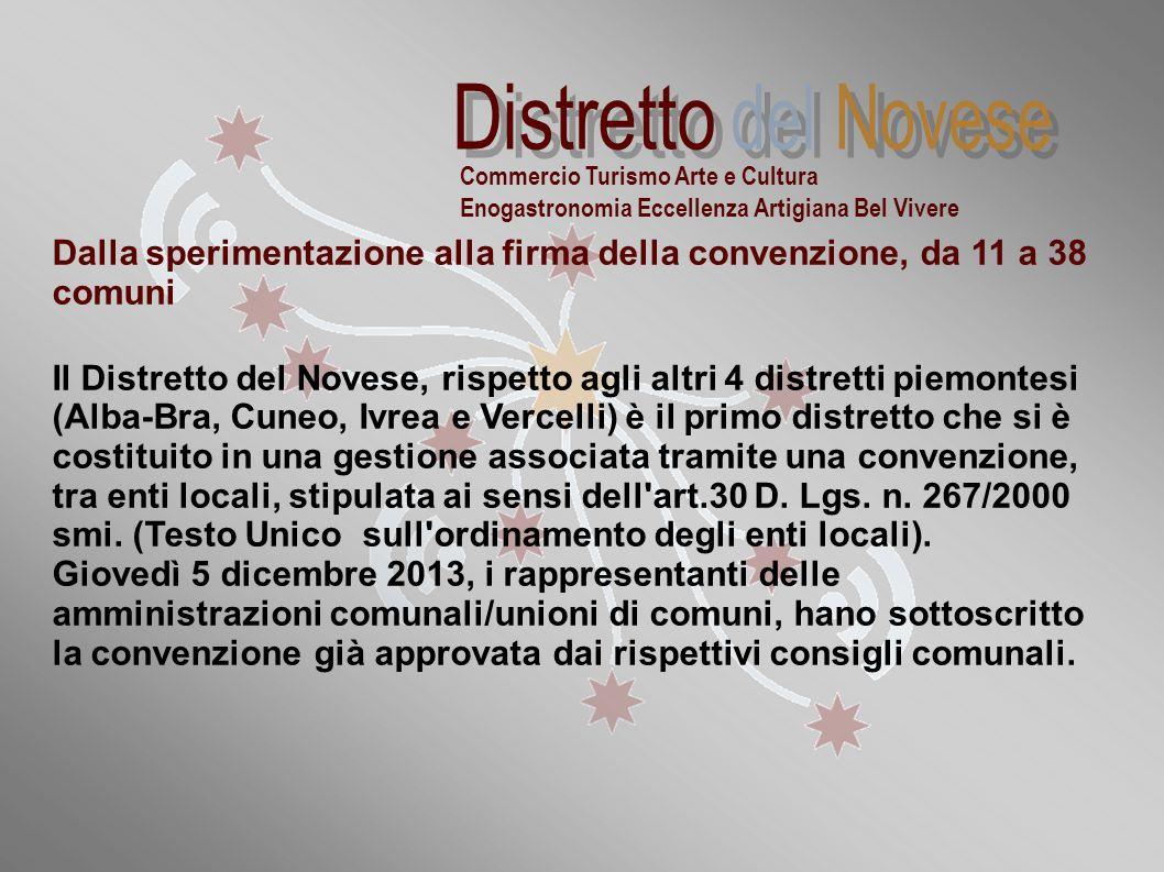 Dalla sperimentazione alla firma della convenzione, da 11 a 38 comuni Il Distretto del Novese, rispetto agli altri 4 distretti piemontesi (Alba-Bra, C