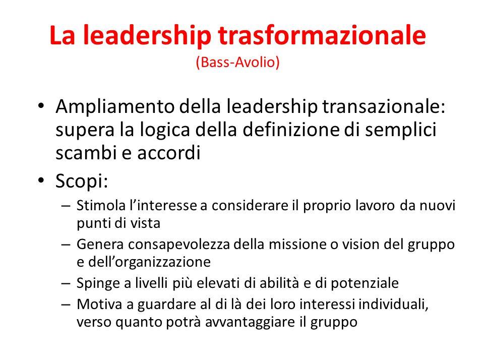 La leadership transazionale Enfatizza la transazione e lo scambio che si verifica tra leader, colleghi e collaboratori Scambio tra obiettivi raggiunti