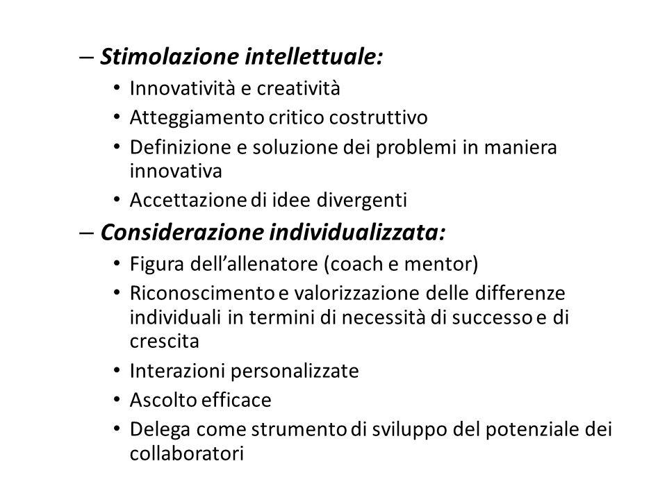 Influenza idealizzata: – Modello di ruolo: il leader considera le necessità degli altri come superiori alle sue personali. – Condivisione del rischio.