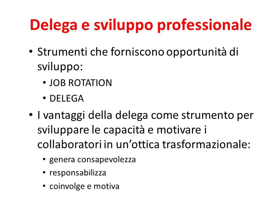 La delega: perchè? Il leader trasformazionale usa la delega (empowerment) quale strumento per favorire nei collaboratori lo sviluppo sempre maggiore d