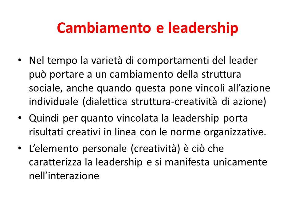 L'elemento personale La credibilità del leader dipende dall'efficacia della sua interazione con gli altri membri dell'organizzazione Questa efficacia
