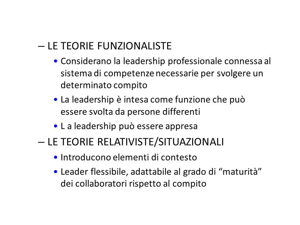 – LE TEORIE COMPORTAMENTISTE/INTERATTIVE: studiano il comportamento del leader nei confronti dei collaboratori individuazione dell'importanza del grup