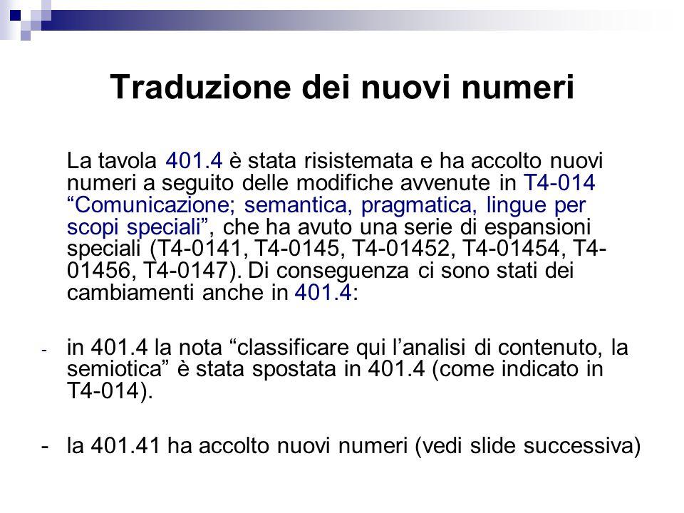 Traduzione dei nuovi numeri La tavola 401.4 è stata risistemata e ha accolto nuovi numeri a seguito delle modifiche avvenute in T4-014 Comunicazione; semantica, pragmatica, lingue per scopi speciali , che ha avuto una serie di espansioni speciali (T4-0141, T4-0145, T4-01452, T4-01454, T4- 01456, T4-0147).